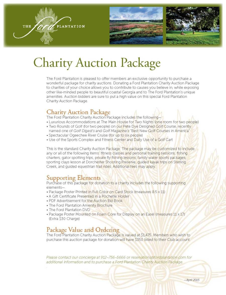 Charity Auction Package Flyer The Ford Plantation